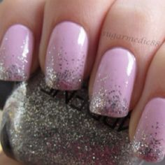 Pink & Silver Nails Prom idea with hot pink/red