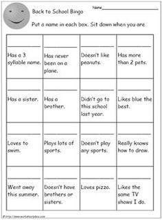Back To School Bingo - Student Scavenger Hunt