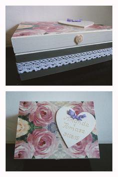 Drewniane pudełko ślubne ozdobione metodą decoupage.