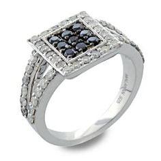 #Malakan #Jewelry - Silver Black Velvet Diamond Ladies Ring 55839A3 #BlackVelvetDiamond #BlackVelvetDiamonds