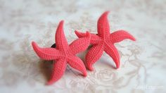 """Red Starfish Plugs for Gauged Ears Sizes 1 Inch, 7/8"""", 3/4"""", 5/8"""", 9/16"""", 1/2"""", 00g, 0g, 2g, 4g , 6g, Regular earrings, Choose Your Color"""