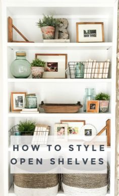 How to Style Open Shelves: 3 Tips for an Uncluttered Look - House by Hoff Styling Bookshelves, Decorating Bookshelves, Bookshelf Design, Bookshelves Built In, Bookcase Shelves, Bookcases, Interior Design Inspiration, Home Interior Design, White Wash Brick Fireplace