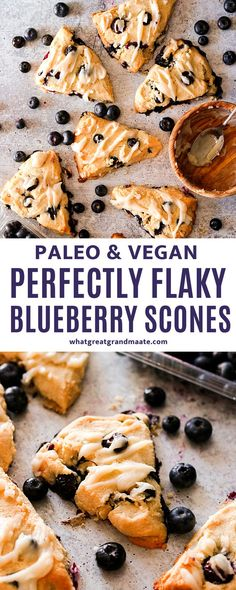 These paleo blueberry scones are easy to make with a perfectly flaky and soft texture. They are also vegan, and make a delicious egg free breakfast or a snack! Paleo Dessert, Healthy Dessert Recipes, Gluten Free Desserts, Fruit Recipes, Dairy Free Recipes, Healthy Dishes, Paleo Recipes, Gluten Free Scones, Vegan Gluten Free
