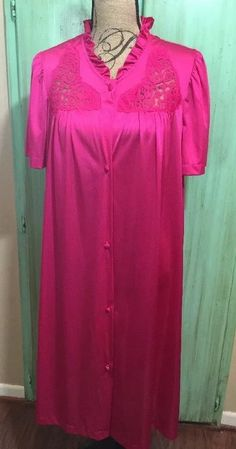 Lorraine Gown Vtg Hot Pink Lace 100 Antron III Nylon Pajamas Sz L | eBay