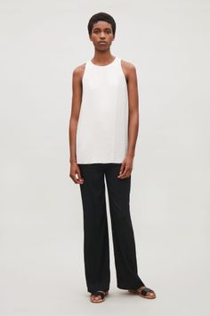 COS image 1 of Sleeveless drape top in White