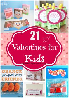 21 Valentines for Kids Round-Up.  Awesome craft/gift idea #crafts #gifts