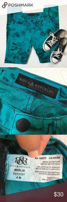 Tie dye Rock & Republic skinny jeans size 4 Super cute tie dye blue skinny jeans. No flaws! Great condition! Rock & Republic Jeans Skinny