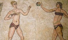A 3000-year-old wall painting on the island of Crete shows a Minoan woman wearing a bikini-like support garment, while apparently practicing athletics