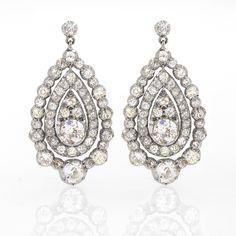Antique Diamond Pear Shaped Earrings