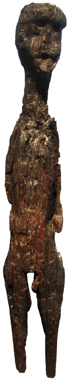 Anthropomorphic God stake of Altfriesack, Brandenburg, Germany. Oakwood, height 158 cm. Slavic, 5th century A.D. Neues Museum Berlin, Germany.