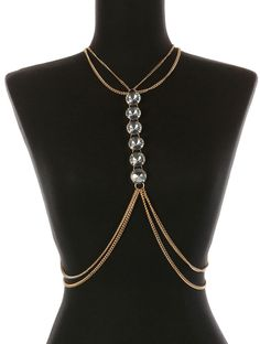 New Body Chain With Chunky Glass Stone Bead Gold Bikini Accent Necklace Torso #SP