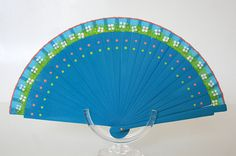 Spanish folding fan. Hand painted. Blue fan. White flowers and