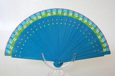 Spanish folding fan. Hand painted. Blue fan. White flowers and