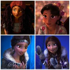 Racebent Disney Princesses (L-R: Merida (Brazilian), Rapunzel (Mexican, yay!), Elsa (Inuit), Anna (Inuit) so neat!
