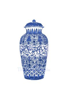 Blue and White Chinoiserie Ginger Jar Giclee by thepinkpagoda, $45.00