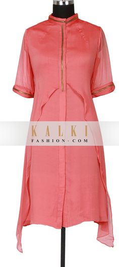Peach a-symmetrical kurti featured in chiffon only on Kalki Suits For Women, Clothes For Women, Indian Outfits, Indian Dresses, Designer Dresses, Designer Kurtis, Suit Pattern, Indian Fashion, Womens Fashion