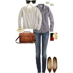 A fashion look from January 2013 featuring j crew sweaters, flannel shirts and stretch jeans. Browse and shop related looks.