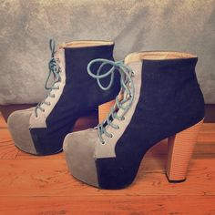 Lita Style Platform Boots Black and grey suede lace up platform boots with vinyl covered heel, in the style of JC Litas. Gently worn but in great condition, no scuff marks. Super comfortable! Shoes Heeled Boots