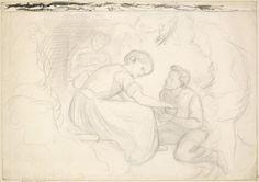 Michael Scott's Wooing - Composition Sketch - Dante Gabriel Rossetti