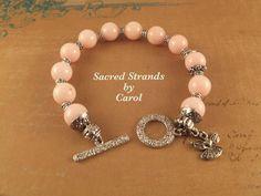 Bracelet Pink Bracelet with Angel charm  by SacredStrandsbyCarol, $25.00