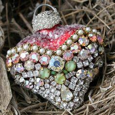 Pretty rhinestone heart ornament