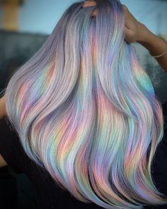 Peachy Hair Color, Hair Dye Colors, Cool Hair Color, Pastel Hair Colors, Colorful Hair, Pastel Rainbow Hair, Pastel Colored Hair, Cotton Candy Hair, Creative Hair Color