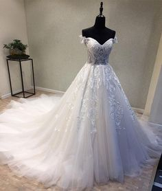 Tulle Lace Ball Gown Wedding Dresses, Elegant Wedding