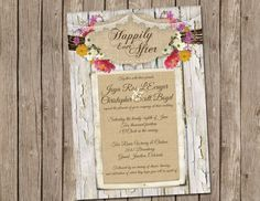 Burlap Wedding, Invitation, Rustic, Flower, Twine, Printable, Digital File Personalized, Happily Ever After, 5x7 on Etsy, $15.00
