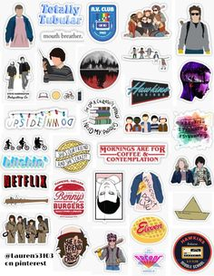 Stranger things sticker pack stranger thing stickers ST eleven dustin mike eggo mouth breather upside down burgers real friends don't lie netflix retro vintage sticker. Meme Stickers, Tumblr Stickers, Phone Stickers, Cool Stickers, Wallpaper Stickers, Clear Stickers, Printable Stickers, Stranger Things Tumblr, Stranger Things Aesthetic
