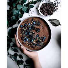 Cacao, Banana & Blueberry Protein Smoothie Bowl Topped With Chia Seeds, Cacao Nibs, Blueberries & Bee Pollen. Get this and 80+ more Smoothies recipes at https://feedfeed.info/smoothies