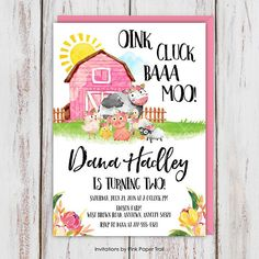 Farm Birthday Invitation Pink Floral Farm Barn Girl Birthday - This Listing Is For A Farm Birthday Invitation Pink Floral Farm Barn Girl Birthday Party Invitation Barn Barnyard Cow Pig Sheep Duck Chicken Printable Invite May Also Be Used For All Other Occ 2nd Birthday Party For Girl, Farm Animal Birthday, Girl Birthday Themes, Farm Birthday, Birthday Ideas, Birthday Banners, Mother Birthday, Dinosaur Birthday Invitations, Farm Party Invitations