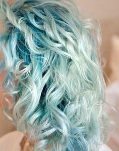 Pastel blue curly hair