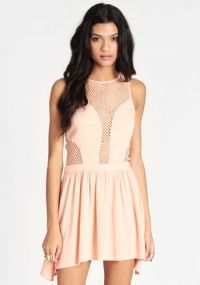 Peach Sorbet Fishnet Detail Dress