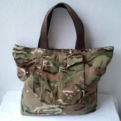 large army camouflage recycled bag by reloveduk Denim Fashion, Women's Fashion, Army Camouflage, Canvas Bags, Denim Bag, Big Bags, Printed Bags, You Bag, Pouches