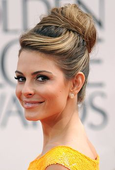 fancy hair | Modern Updo Wedding Hairstyle - Maria Menounos Golden Globes 2012