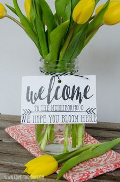 Neighbor Gift Ideas:: We Hope You Bloom Here FREE PRINTABLE