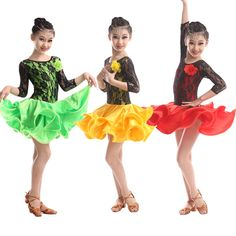 2015 New latin dance costume sexy lace long sleeves child latin dance dress for women children latin dance competition dresses