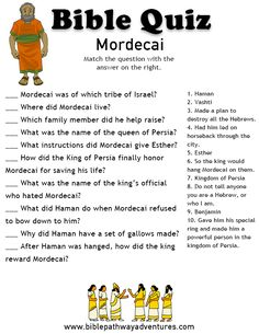 Printable bible quiz - Mordecai (from the story of Esther) Youth Bible Study, Esther Bible Study, Bible Lessons For Kids, Bible For Kids, Bible Games, Bible Activities, Bible Trivia, Bible Quiz, Bible Crafts