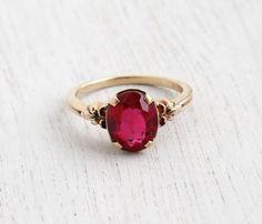 Ruby Earrings Vintage Yellow Gold Ruby Stone Ring - Art Deco Size 7 Flower Shoulder Fine Jewelry / Solitaire Red Pink by Ruby Jewelry, Ruby Earrings, Art Deco Jewelry, Gold Jewelry, Jewelry Rings, Fine Jewelry, Jewellery Box, Jewellery Shops, Tanishq Jewellery
