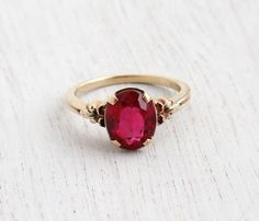 Vintage 10k Yellow Gold Ruby Stone Ring - Art Deco 1930s Size 7 Flower Shoulder Fine Jewelry / Solitaire Red Pink by Maejean Vintage on Etsy, $225.00
