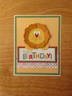 Stampin Up Happy birthday card - cute lion looking at you. $4.00, via Etsy.