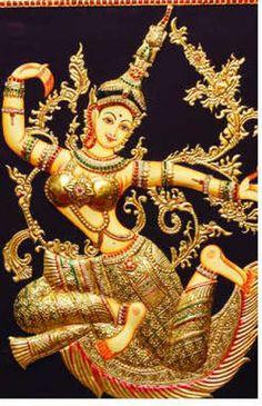 Lakshmi: Tanjore syle painting
