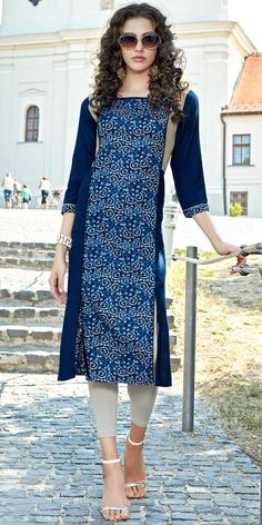 Lavish Blue Cotton Kurti