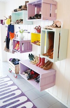 Hanging crates on walls....over W/D on wall ~ use wall brackets to support crates Shoe Wall, Shoe Box Storage, Wall Storage Systems, Storage Ideas, Colorful Shoes, Earthship, Crates, Me Too Shoes, Entryway