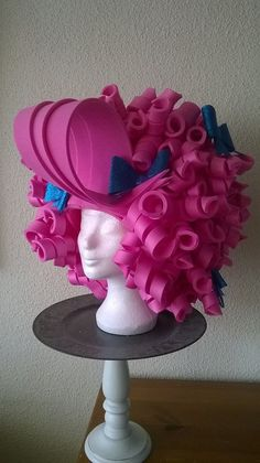 Pink Crazy Curls wig made by Lady Mallemour for act for childrens