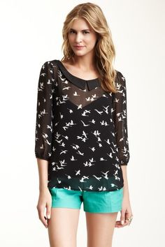 {Flying Bird Printed Blouse} Daniel Rainn