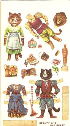 Louis Wain paperdoll cats! <3