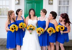 Bridesmaids in Royal Blue Cocktail Dresses with Sunflower Bouquets