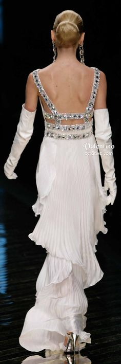 Back of Valentino Bedazzled White Pleated Gown