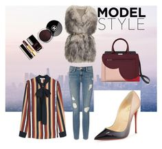 """fur"" by martyswordrobe on Polyvore featuring PINGHE, Frame Denim, MANGO and Christian Louboutin"